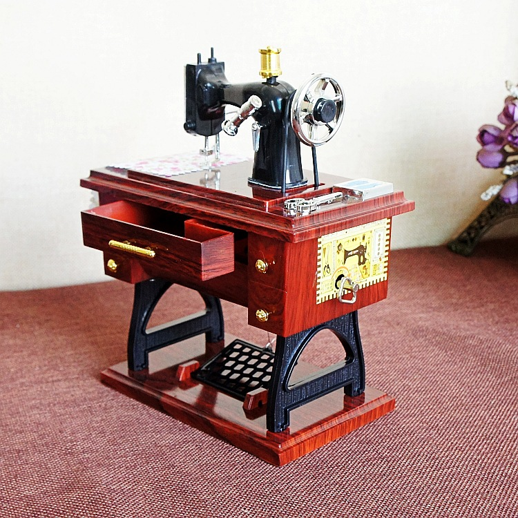 ③Vintage Treadle Sewing Machine Music Box Treadle Sartorius Toy Inspiration Musical Sewing Machine Music Box Vintage Look