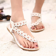 Classic Women Summer Vacation Flats Sandals Flower Beading Flip Flops Holiday Be