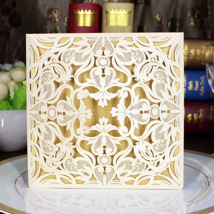 1sample 10styles Amazing Gold Lace Wedding Invitations Cards Flower Cut Out  With Envelopes And Seals Free Shipping