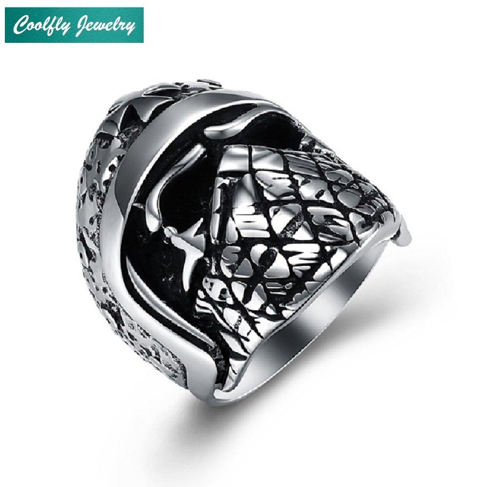 Gothic 316L Stainless Steel Cross Skull Mask Rings For Men Vintage Viking Punk Biker Finger Ring Jewelry Gift Bague Wholesale