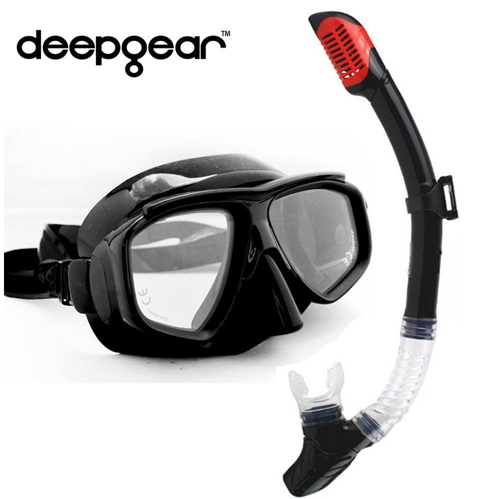 DEEPGEAR Top diving set Black silicon scuba mask Tempered glass myopia lens snorkel mask Full dry snorkel Adult diving equipmentDEEPGEAR Top diving set Black silicon scuba mask Tempered glass myopia lens snorkel mask Full dry snorkel Adult diving equipment