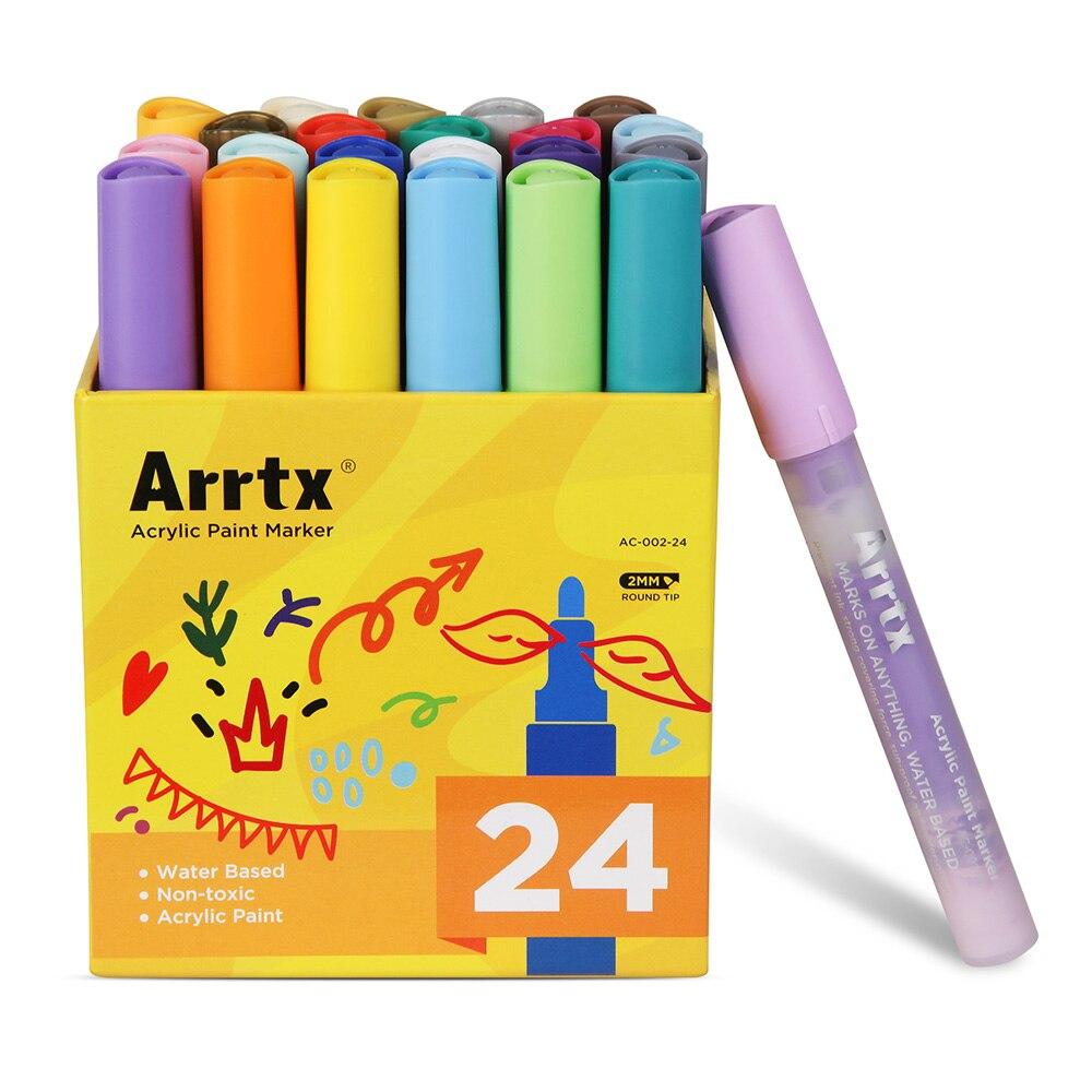 Arrtx Acrilico Marcatori a base D'acqua Vernice di DIY Marker Penne Selvaggiamente Utilizzato su Tela di Canapa, Vetro, Ceramica, legno e Più 24 Colori Set
