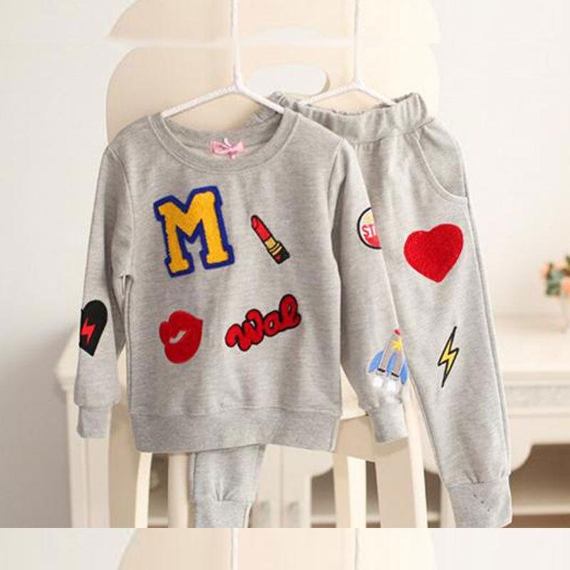 AiLe Rabbit  2017 New Girls Clothing Sets Baby Kids Clothes Children Clothing T Shirt + pants 2pcs Lipstick patch fashion set