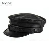 HL167-F מותג גברים כובע כובע בייסבול עור אמיתי עור עור פרה ניו דייג arny טייס caps כובעי newsboy צבע שחור
