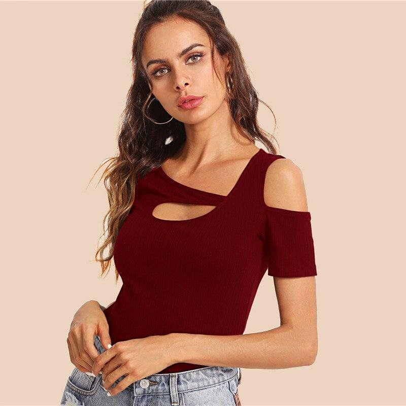 a9969172581 COLROVIE Burgundy recorte asimétrica cuello acanalado Top camisetas ...