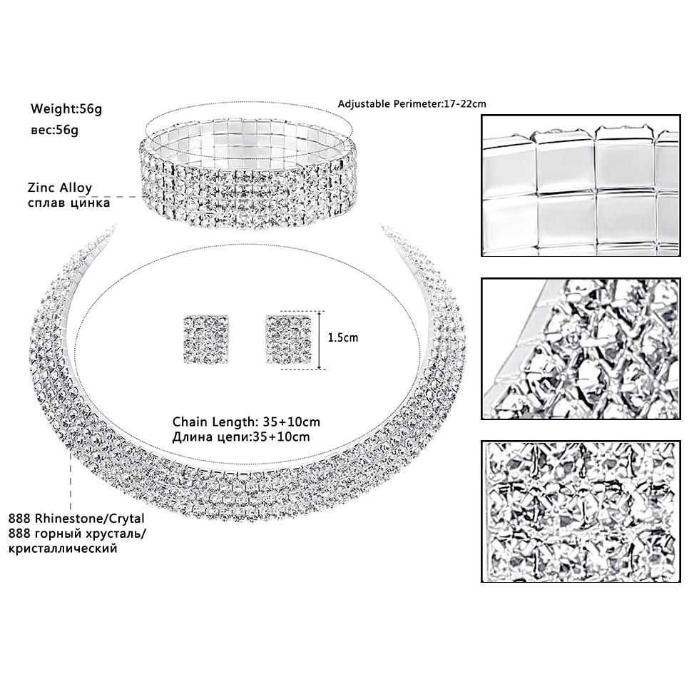 Mecresh Crystal Bridal Jewelry Sets Silver Color Rhinestone Necklace - Märkessmycken - Foto 3