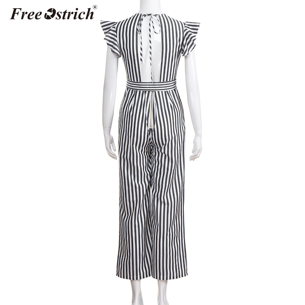 Free Ostrich Jumpsuit Women 2018 Summer Women Summer Sleeveless Striped Halter Ruffle Sexy Plus Size Jumpsuit N30 4