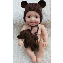Baby Photography Prop Set Cute Bear Hat Knit Toy Set Photography Crochet Hat Photography Costume(China)
