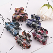 Fashion Acrylic Hair Claw Floral Print Crab For Strong Bit Force HairPin Korean Accessories Ponytail Holder Clip