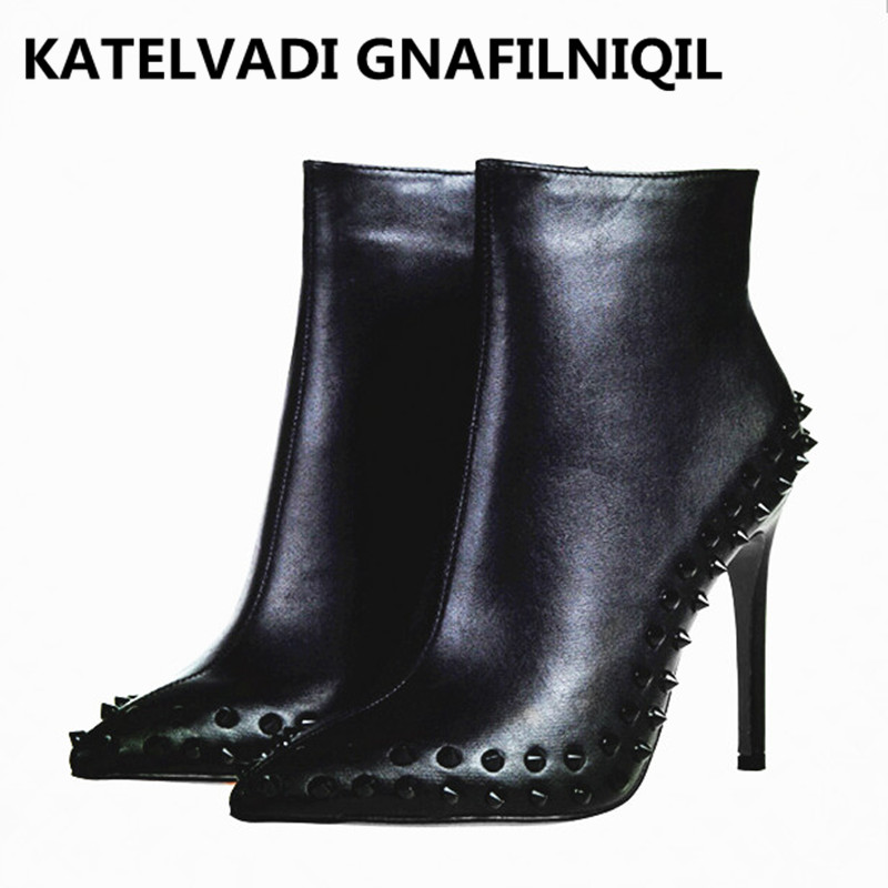 Brand Women Boots High Heels Black PU Leather Shoes Woman Ankle Rivets Boots For Women Sexy Shoes Winter Boots With Fur FS-0114 цены онлайн