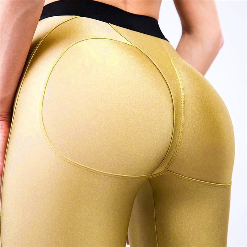 Black And Gold Booty   Leggings   Sexy Hips Triangle Design Push Up Fitness   Leggings   For Women Drop Shipping Slim Leggins