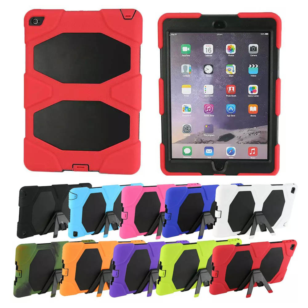 For Apple iPad Air 2 / iPad 6 Shockproof Armor Hybrid Defender Kickstand Case Cover W/ Bulit-in Front Protective Film