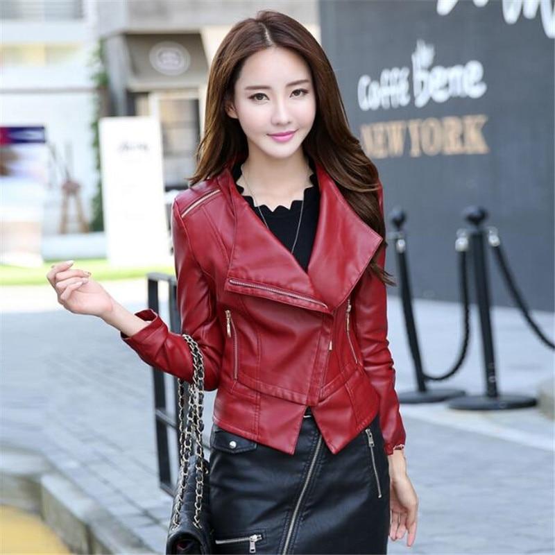 high quality New 2017 New Women Leather Jackets Coat Short Slim girls Red Coat Leather Jacket Plus Size Leather Coat 2XL