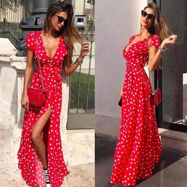 Women Summer Fashion Dress V-neck Short Sleeve Slit Polka Dots Printed  Drees Vacation Wear Beachwear Holiday Dress for Ladies 7101fe214233