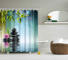 High Quality SPA Waterproof Shower Curtain Digital Printing Bathroom Decoration Shocking Landscape Curtains 180