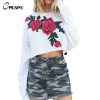 Spring Embroidery Print T Shirt Women Long Sleeve Crop Tops Cotton Loose Streetwear White Tops