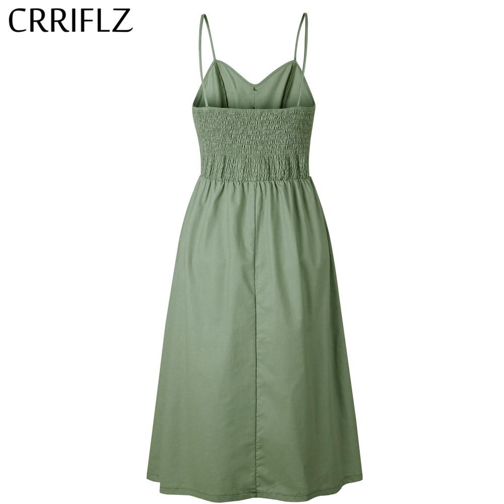 New Boho Off-shoulder Party Beach Sundress Spaghetti Long Dresses Plus Size Summer Women Button Decorated Print Dress CRRIFLZ 1