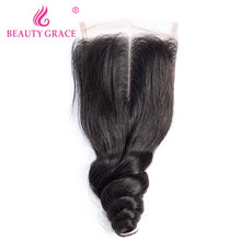 Beauty Grace Brazilian Loose Wave Closure 4x4 Lace Closure 8-22 Inch Non Remy Human Hair Nature Color Free Middle Three Part(China)