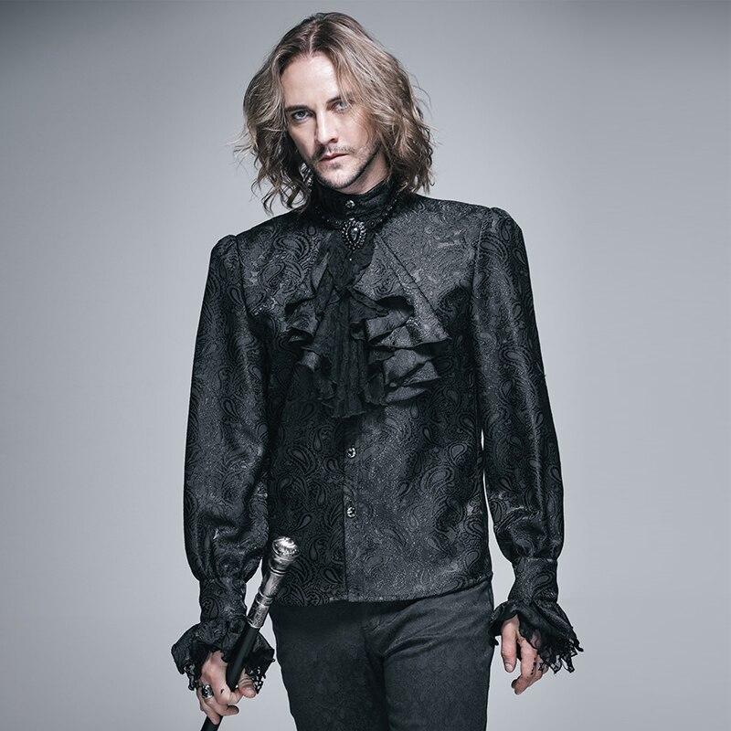 Gentleman Baroque Print Stand Collar Long Sleeve Vintage Victorian Shirt with Jabot BLACK SHT01001 Рубашка