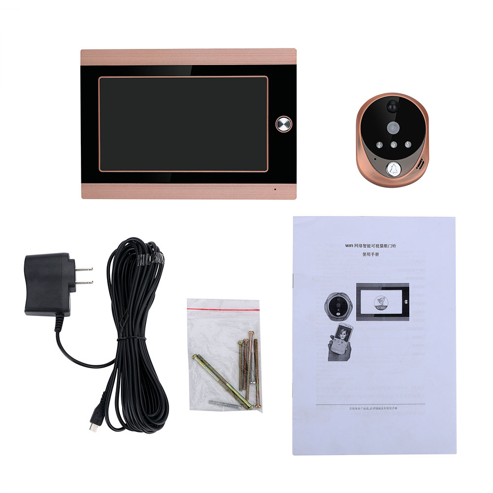 720P WiFi Wireless  7inch Front Video Door Peephole Camera Wifi Doorbell With Intercom Or Take Picture Or Take Video