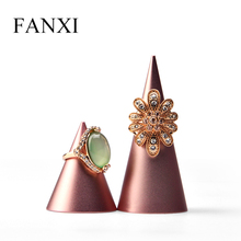 FANXI  New Rose Gold Finger Ring Display Stand Cone Metal  Rack Ring Holder Jewelry Display Stand Ring Organizer Showcase fanxi new metal shelf rose gold earring display stand pendant holder rack jewelry display stand showcase jewelry organizer