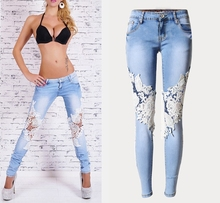 2018 Summer Russia Casual Women Lace Denim Jeans Sexy Patchwork Low Waist Long Fashion Unique Ladies Pencil Jeans for woman