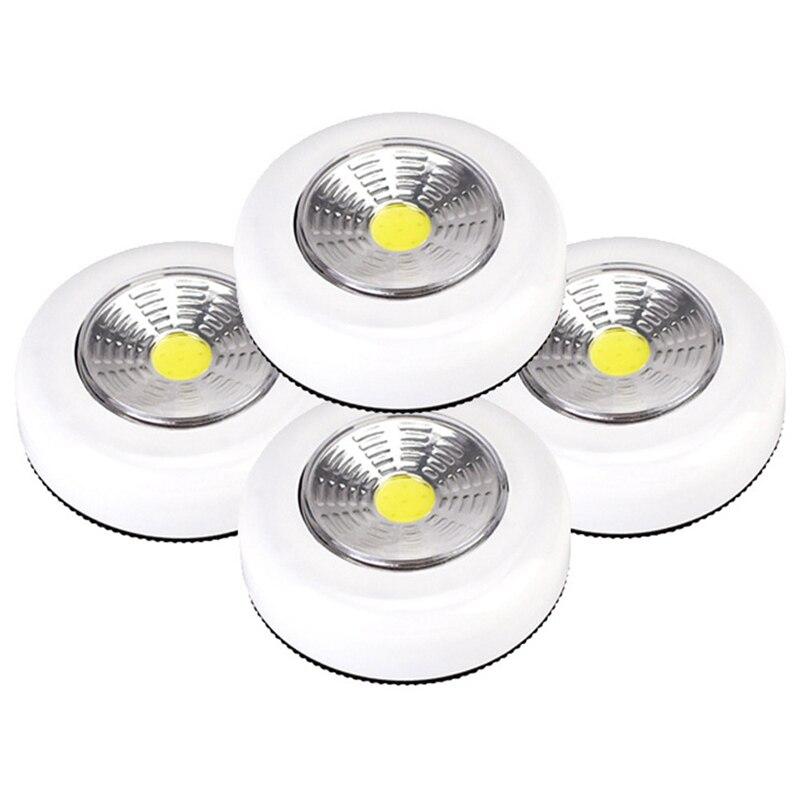 COB LED Cordless Stick Tap Wardrobe Touch Light Lamp 2W Battery Powered Kitchen Cabinet Closet Push Tap Home Stick On Lamp Blub