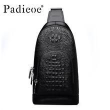 Padieoe Luxury Mens Messenger Bags Famous Brand Genuine Leather Chest Bag Business Male Crossbody Shoulder Bag