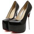 Crossdresser big size Spring/Autumn 16 cm super high heels platform sexy Patent Leather women pumps wedding shoes