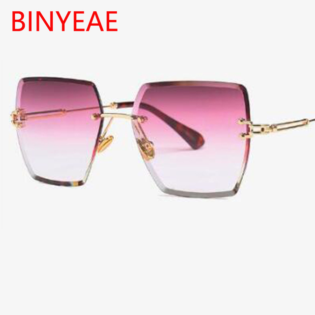 b5f7515c8d5 2018 New Large Frame red Gradient Sun glasses Fashion square rimless  sunglasses retro vintage luxury clear lens glasses UV400