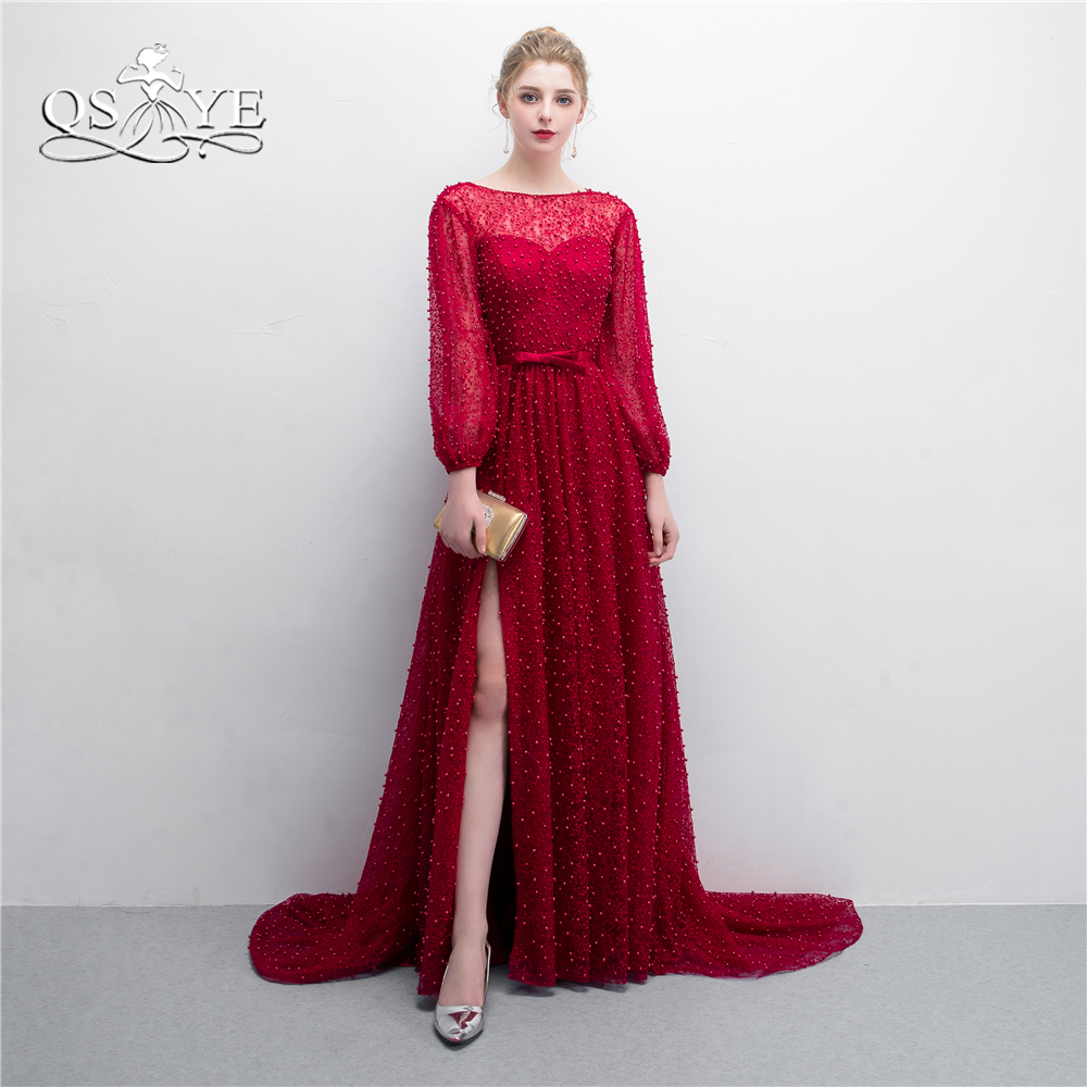 QSYYE 2018 New Red Formal Evening Dresses Full Beading Pearls ...