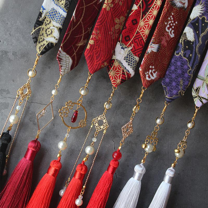 Men and women wipes Hanfu tassel hair band gilded crane koi detachable tassel headwear hair accessories hair band