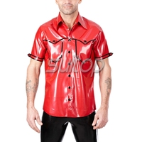 mens red latex shirt with short sleeve