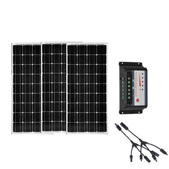 Kit Zonnepaneel 300W 36v  12v 100w Solar Panel 3 Pcs Solar Charge Controller 12v/24v 30A PWM Auto 3 In 1 Connector Motorhome