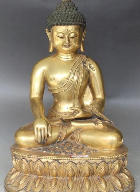 13 Tibet Buddismo Tempio 24 K Oro Shakyamuni Sakyamuni Su Lotus Statua di Buddha R0711 (B0328)13 Tibet Buddismo Tempio 24 K Oro Shakyamuni Sakyamuni Su Lotus Statua di Buddha R0711 (B0328)