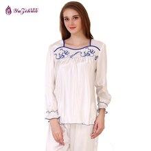 YUZIHUA Silk Sleepwear Pyjamas Women Sets of Sleepcoat & Sleep Long Clothing Trousers Warm Pajamas Women's Pajamas Pyama woman