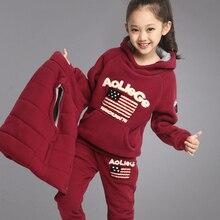 Female child set winter male child autumn and winter plus velvet thickening child sweatshirt piece set 8-9-10 – 12 – 14