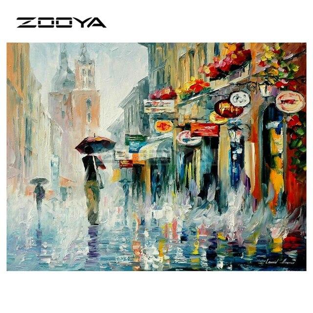Zooya Diy Diamond Embroidery Urban Street Character Back Umbrella