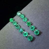 SHILOVEM 925 sterling silver Natural Emerald stud earrings classic fine Jewelry women wedding women wholesale jce0303011agml