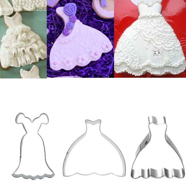 Wedding Dress metal Cookies Cutter Princess Gown Biscuit mould ...
