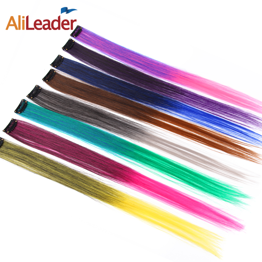 Alileader Rainbow Straight One Clip In One Piece Synthetic Hairpieces For Women Invisible False Hair Extension Ombre Pink Red