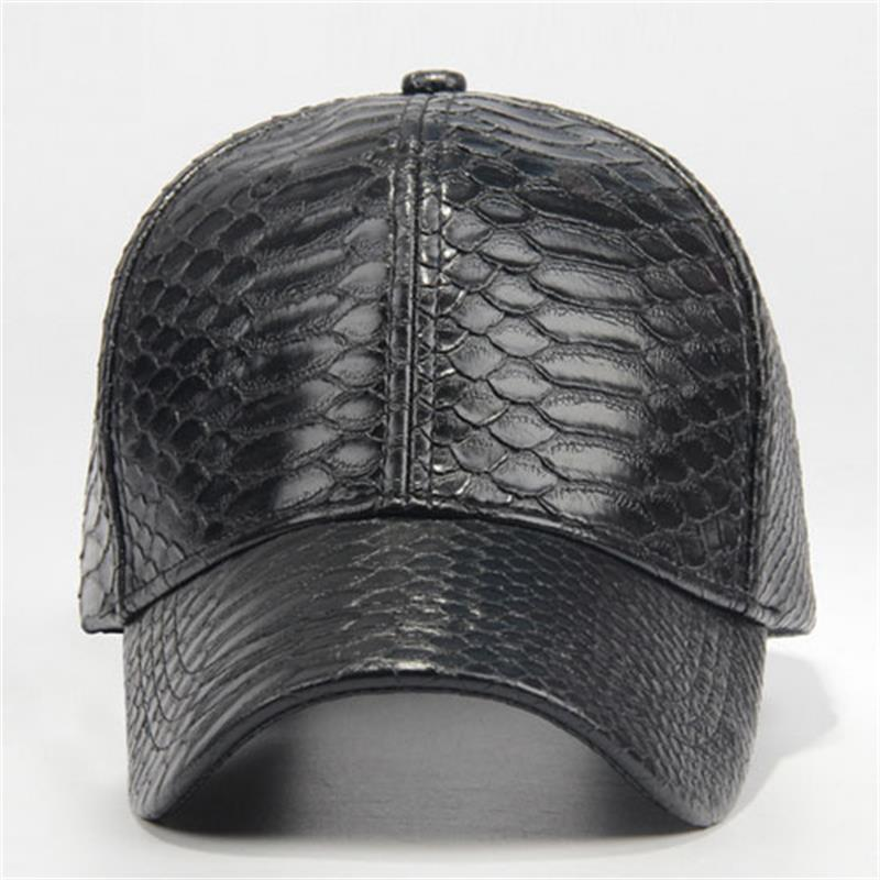 black leather baseball cap wholesale faux lot cool snakeskin hats spring fall winter men ball with fur pom whol