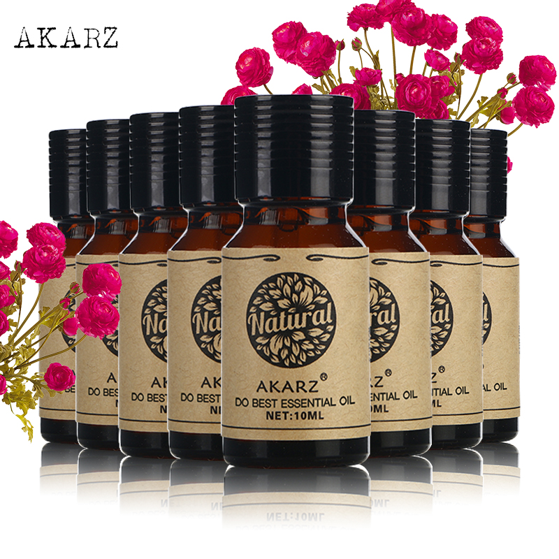 AKARZ Famous brand value meals Patchouli Peppermint Frankincense Lily Lotus Oregano Neroli essential Oils skin body care 10ml*8 ronnefeldt teavelope peppermint