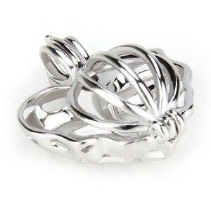 Image 3 - CLUCI 3 sztuk liście klonu serce srebro 925 wisiorek dla kobiet naszyjnik biżuteria 925 perła z polerowanego srebra wisiorek klatka SC076SB