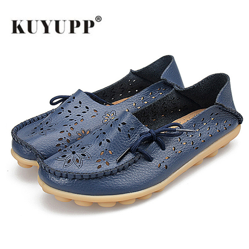 KUYUPP Large leather Women flats girl shoes espadrilles