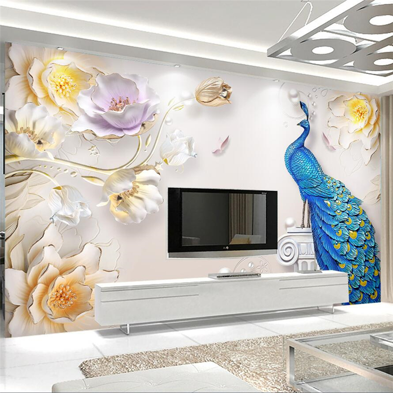 Large 3d European Pearl And Rose Jewelry Tv Background: Beibehang Papel De Parede Para Quarto Custom Wallpaper