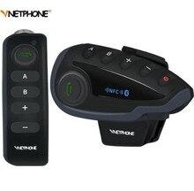 VNETPHONE V8 1200M Bluetooth Intercom Motorcycle Helmet Interphone Headset NFC Remote Control Full Duplex+FM Including 2PCS