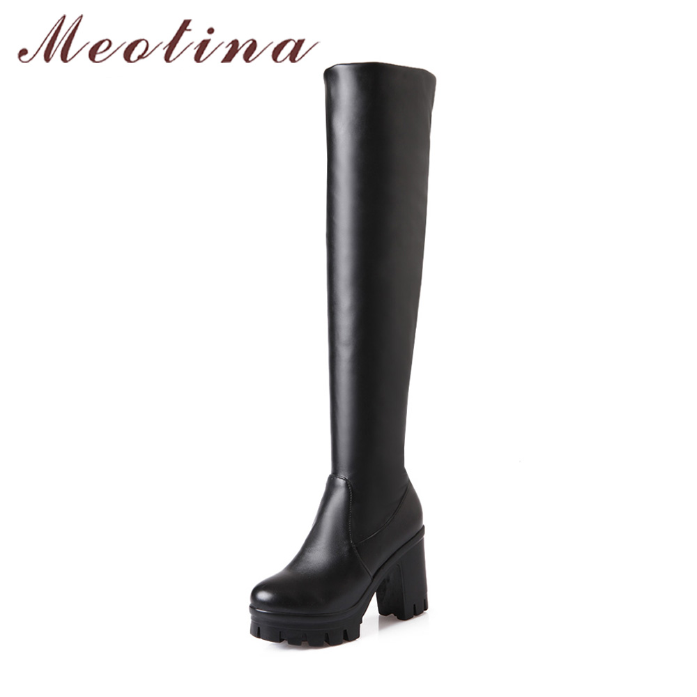 Meotina Winter Platform High Heel Boots Over the Knee Boots Fur Long Thigh High Boots Women Shoes White Black Big Size 33-43