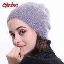 Geebro Gorro Desleixada Chapéu Gorro de Lã das Mulheres do Inverno da Pele  Quente para As b29c4e86da8