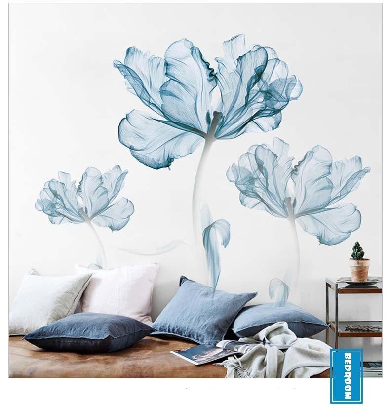 Grande flor azul adesivo de parede fundo
